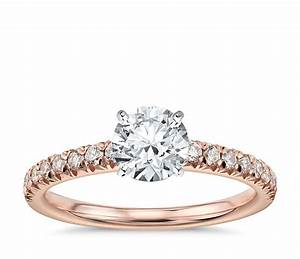 french pave diamond engagement ring in 14k rose gold 1 4 With rose diamond wedding ring