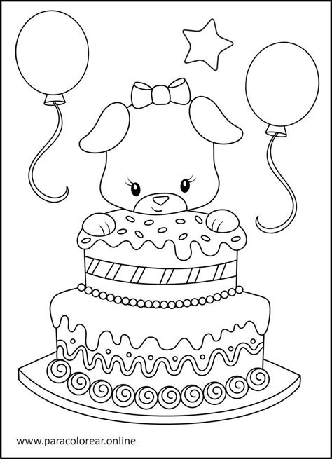 Dibujos de Feliz Cumpleaños para Colorear Imprimir y
