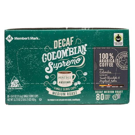 Single cup club answered.january 2021. Member's Mark Decaffeinated Colombian Supremo Coffee Single Serve K-Cup Coffee Pods, 80 ct ...