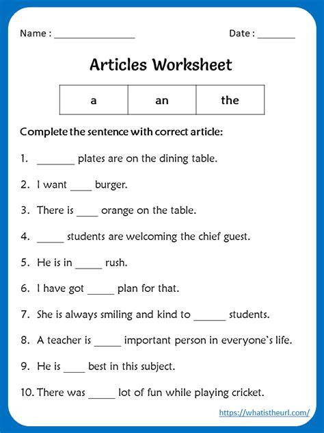 articles worksheet  grade   home teacher