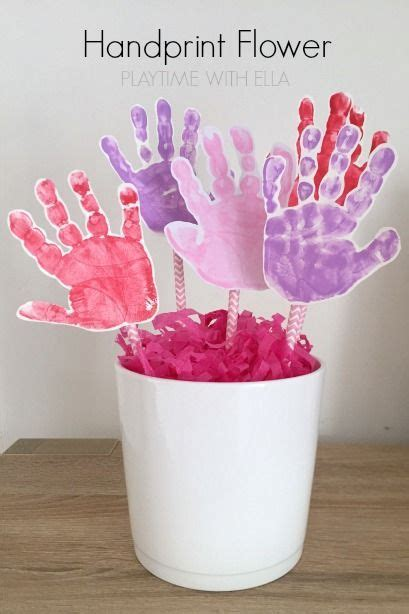 easy handprint flower pot craft  mothers day easy