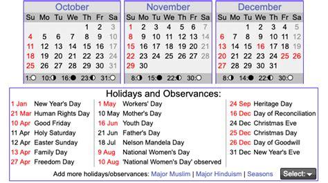 printable south african calendar template printable
