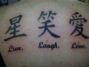 Chinese Symbols Live Laugh Love Tattoos On Back ...