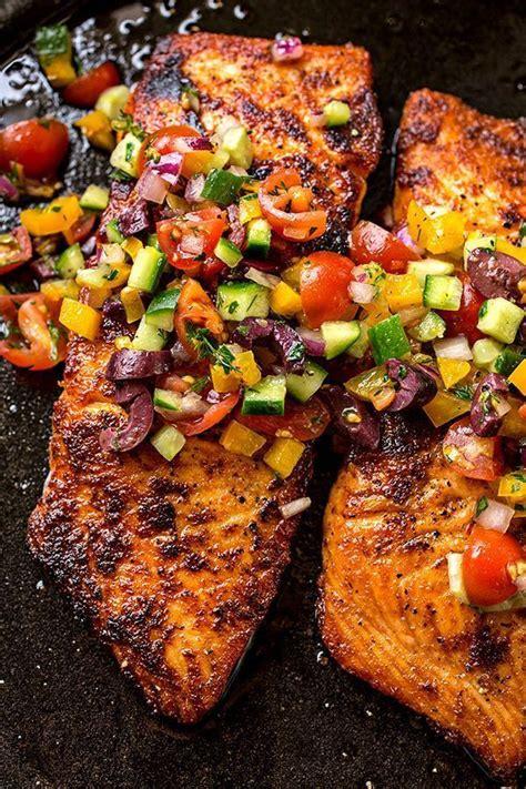 pan seared salmon  mediterranean salsa fresca