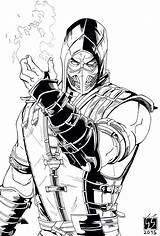 Mortal Kombat Coloring Scorpion Drawing Drawings Sketch Pencil Sketches Zero Sub Character Marvel Mk Hat Chibi Paintingvalley Cartoon Childrens Evening sketch template