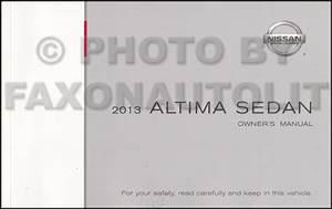 2013 Nissan Altima Sedan Owner U0026 39 S Manual Original
