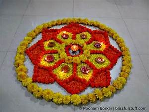 Diwali Special - Rangoli Design with marigold flowers and