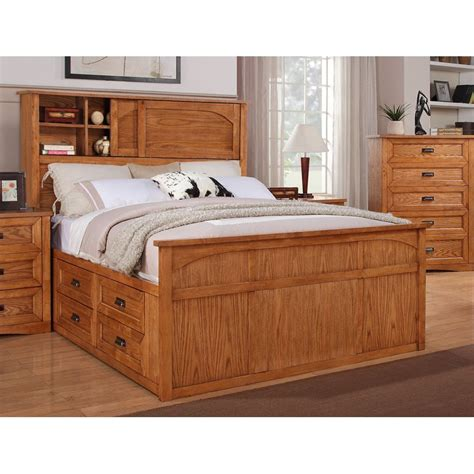 King Bookcase Storage Bed by Dixie Oak King Bookcase Storage Bed