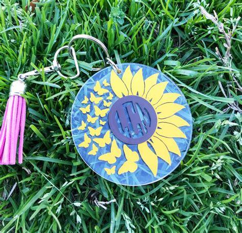 sunflower keychain personalized acrylic keychain monogram   acrylic keychains