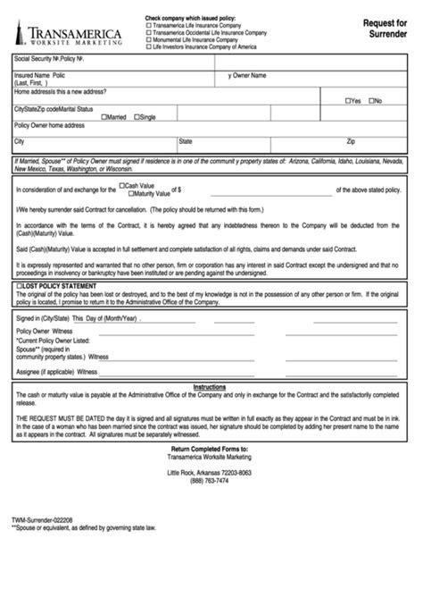 request  surrender transamerica printable