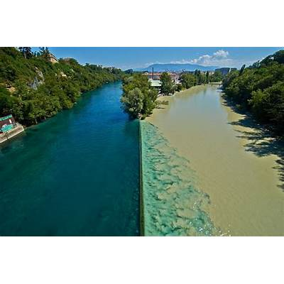 Rhone and Arve rivers in Geneva Switzerland. The river on