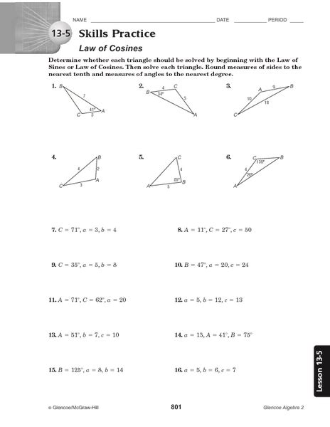 8 5 law of sines form g answer key law of cosines worksheet worksheets ratchasima printable