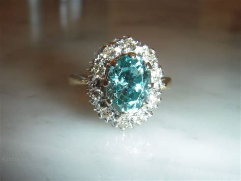 antiques atlas deco ct blue zircon diamond ct