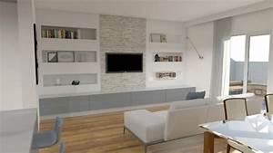 Progettazione living con cucina a vista e selezione arredi