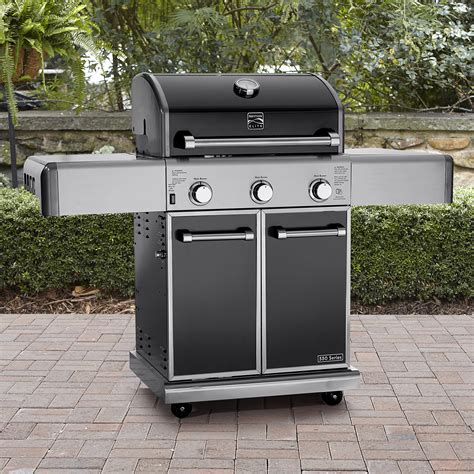 kenmore elite 3 burner carbon grey metallic gas grill