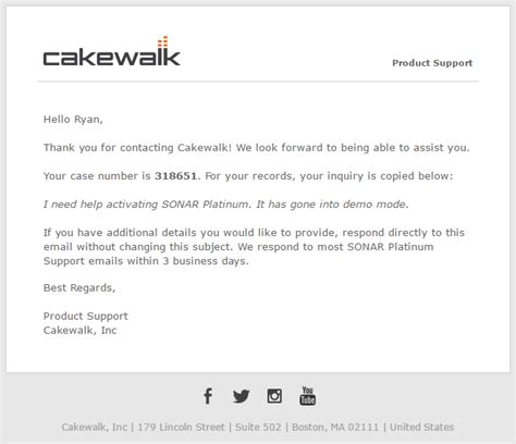 Customer Support Email Template by Cakewalk Support Update Cakewalk Forums
