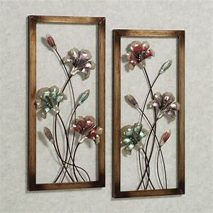 Garden whispers floral metal wall art panel set for Panel wall art