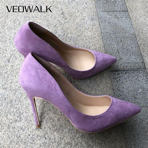 Light Purple Heels by Veowalk Microfiber Suede Pointed Toe High Heel Shoes