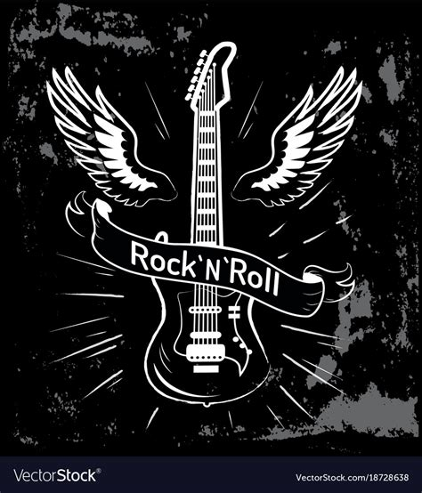 buy a rock n roll guitar and wings royalty free vector image