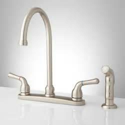 sanibel lever handle gooseneck kitchen faucet with spray