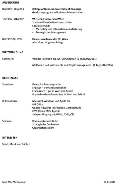 Standard Lebenslauf Vorlage by Lebenslauf Vorlage F 252 R Marketingmitarbeiter Lebenslauf