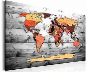 Tableau Du Monde : tableau carte du monde moderne 90x60 cm tableaux a coeur ~ Teatrodelosmanantiales.com Idées de Décoration