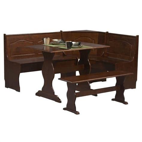 corner bench dining table set linon chelsea nook table bench walnut dining set ebay