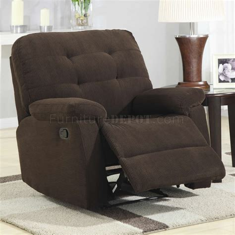 brown corduroy fabric modern rocker recliner chair
