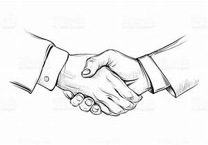 Handshake Of Businessman Vector Black And White Drawing ...