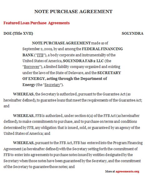 note purchase agreement  word  agreementsorg