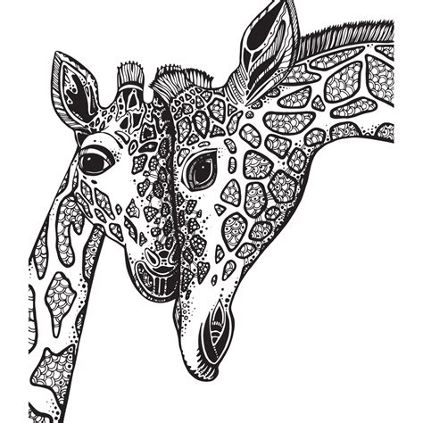 giraffe adult coloring pages