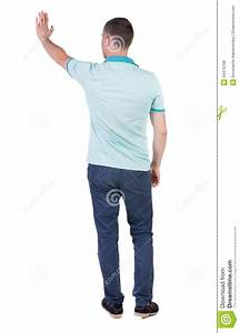 Back Side View Of Man In Shirt Handshake  Stock Photo