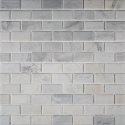 ms international greecian white 12 in x 12 in polished beveled marble mesh mounted mosaic