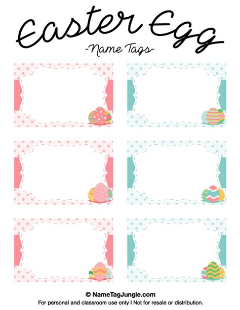 Easter Name Tags Template by Printable Easter Egg Name Tags