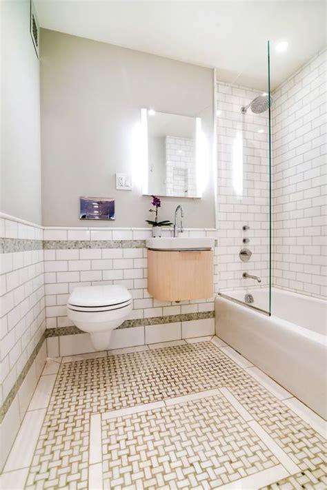 basketweave tile small bathrooms green  white