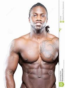 Black Fitness Model In Jeans Stock Photo