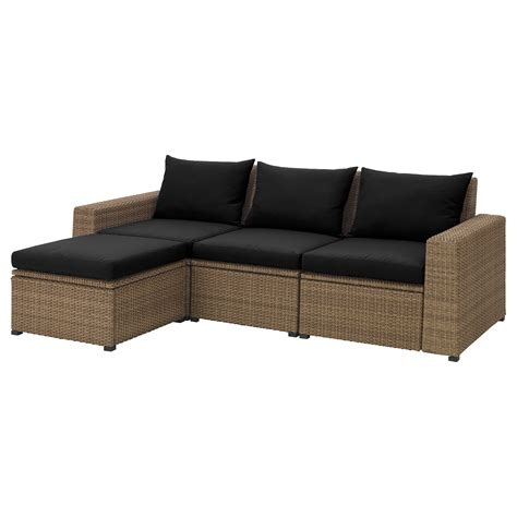 canapé repose jambes sollerön canapé 3 pl repose pieds ext brun hållö noir