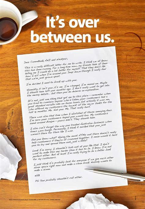break up letter bank s guerilla up campaign mocks competitors 20678   nab break up letter