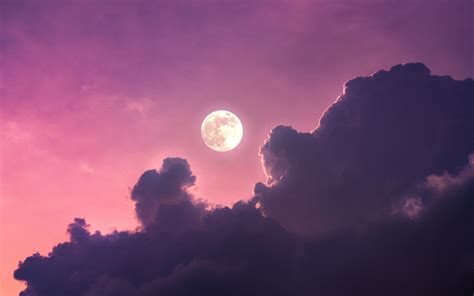 full moon  wallpaper clouds pink sky nature