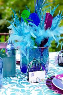 Blue and Purple Peacock Feather Centerpiece