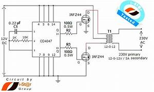 Tested  Simple Dc To Ac Inverter Circuit  12v To 230v