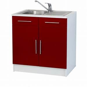 trendy 8 meuble sous evier 2 portes l80 cm rouge achat With marvelous photo de meuble de cuisine 12 evier 1 bac avec meuble