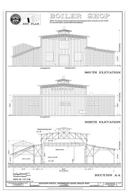 boiler shop south elevation north elevation section aa