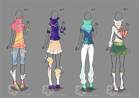 Colorful Outfit Designs - sold by Nahemii-san on DeviantArt