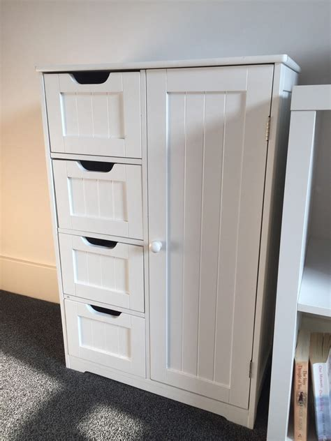 white wooden bathroom cabinet shelf furniture cupboard