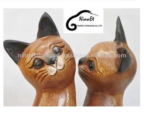 Buy Thai Wood Carving Wall Art Panel Asian Home Decor Online: Crafts Wooden Cat From Thailand