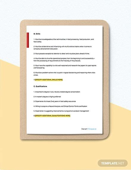 FREE Food Safety Consultant Job Description Template ...