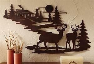 Ructic Northwood Cabin Pine Tree Deer Scene Metal