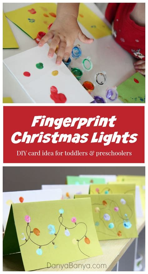 lights cards from fingerprints danya banya 670 | Fingerprint Christmas lights DIY card idea for toddlers and preschoolers Danya Banya