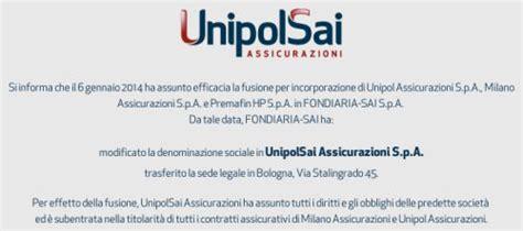 Fondiaria Sai Sede Legale Unipolsai Assicurazioni Auto Sede Legale Fusione